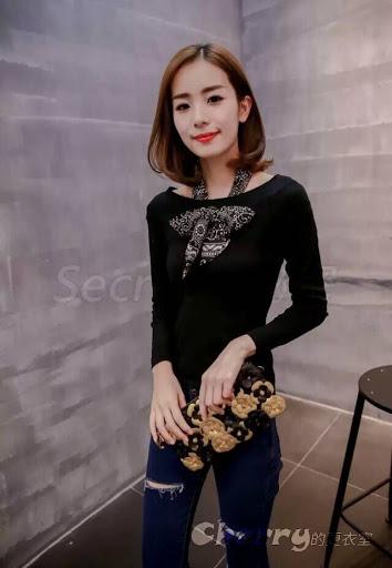 韓版性感露肩套頭素色長袖針織衫一字領修身顯瘦打底衫