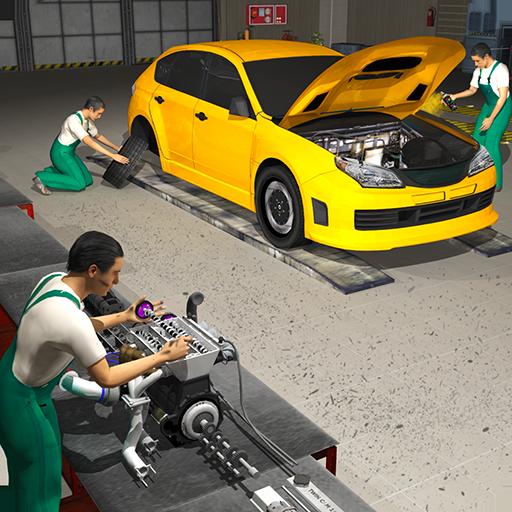 Car Mechanic Engine Overhaul - Auto Repair Shop 3D