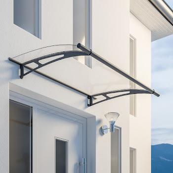 Auvent marquise de porte LT-Line, 150 x 95 cm, verre acrylique transparent ou opaque, fixations anthracite