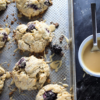 Blackberry Sour Cream Scones with Maple Vanilla Glaze