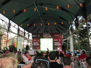 Photo: We watched Spain play in the Euro Cup, a soccer tournament played throughout Europe.  It was exciting to watch one of the games in a public place with locals.  Spain would later go on to beat Italy in the finals.