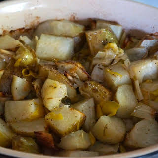 Baked Potatoes with Leeks and Lemon Zest.