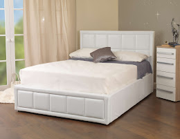 Faux Leather Ottoman End Opening storage bed shown in White Finish