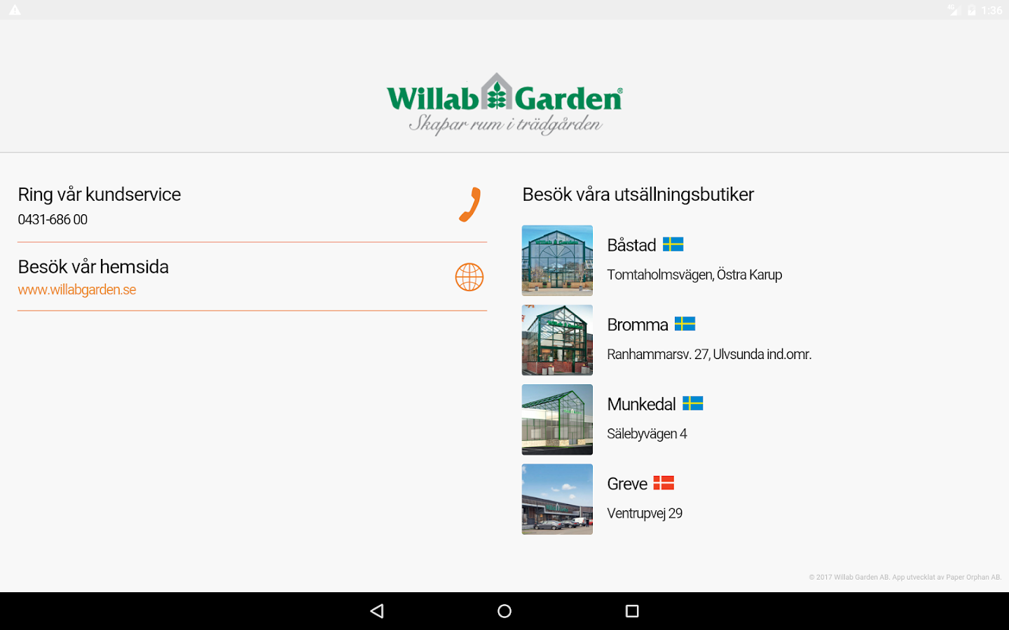 Willab Garden– skärmdump