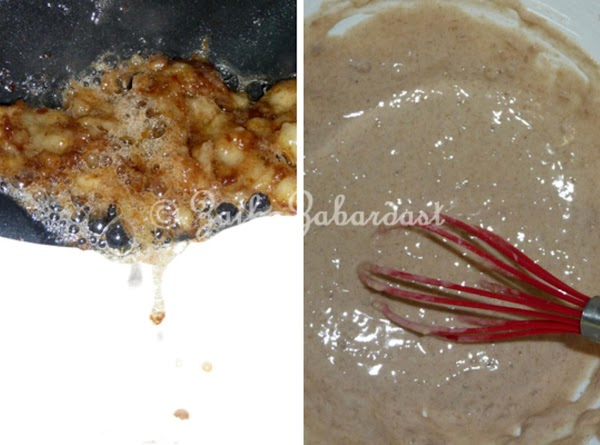 Remove from the heat and add it to dry ingredients along with vanilla extract....