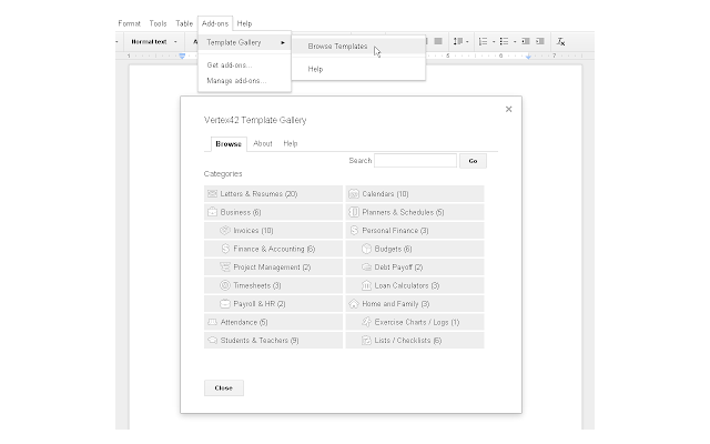 Template Gallery - Google Docs add-on