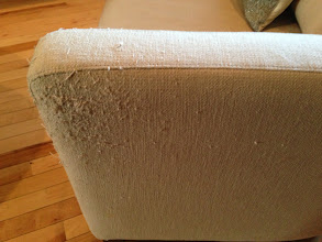 Photo: $150. West Elm tub chair, damaged area.