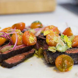 Bobby Flay's Grilled Skirt Steak with Tomato Salsa.