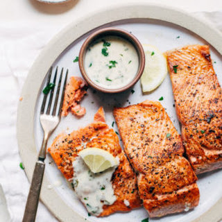 Perfect Pan-Seared Salmon with 4 Ingredient Lemon Butter Cream Sauce.