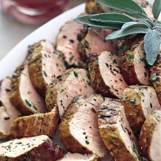 Pan-Seared Pork Tenderloin with Rhubarb Compote.