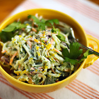 Lemon Caper Broccoli Slaw Salad
