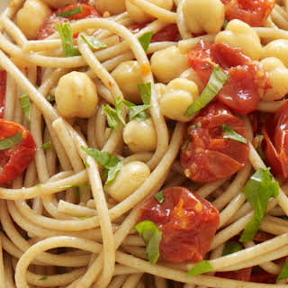 Spaghetti with Roasted Tomatoes, Chickpeas, and Basil.
