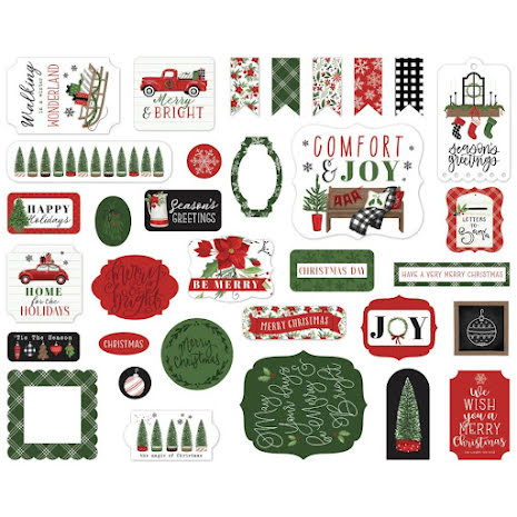 Carta Bella Home For Christmas Cardstock Die-Cuts 33/Pkg - Ephemera