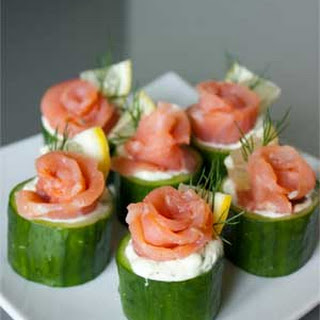 Cucumber Cups with Dill Cream and Salmon