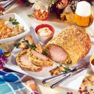 Kasseler im Brotteig mit Weißkohlsalat