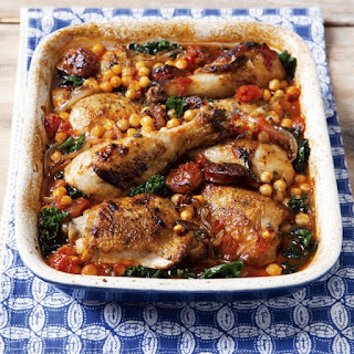 Chicken with Chorizo, Chickpeas and Kale.