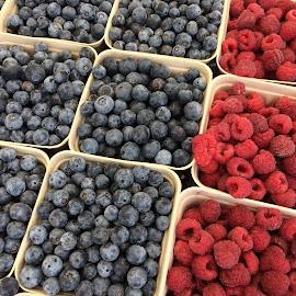 Berry-Licious by Sherri Woodbridge - Food & Drink Fruits & Vegetables ( fruit, raspberreis, fresh, farmer's market, blueberreis, summer, fruit basket, produce )