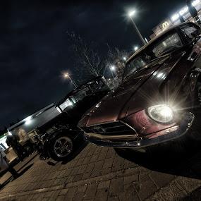 Ford vs. Chevy by Matthias Weigel - Transportation Automobiles ( sonnenuntergang, regensburg, ccm, hdr, classic car meet, vinz kustomz, hotrod, nacht, oldtimer, pentling )