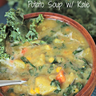 Creamy Dairy Free Potato Soup with Kale