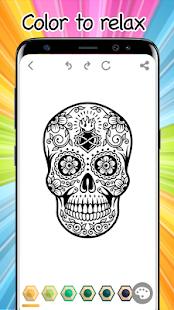 Sugar Skulls Mandala halloween Coloring Free Book - náhled