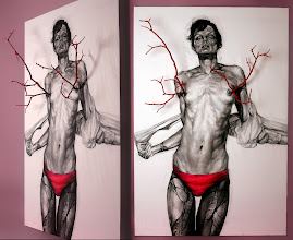 Photo: The Girl Next Door - Installation. Charcoal/Acrylic on canvas + wallnut branches. 189x125cm. 2011. FOR SALE.