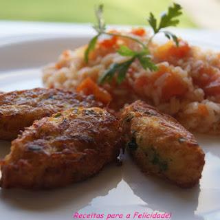 Cod and Zucchini Balls with Tomato Rice.