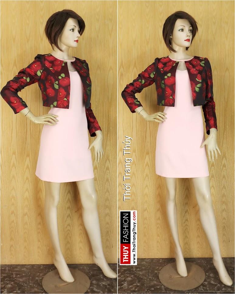 Áo khoác cộc nữ kiểu dài tay thu đông V639 Thời Trang Thủy