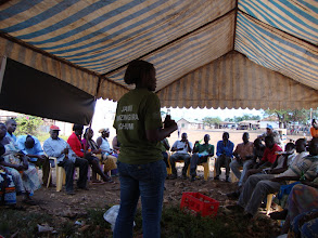 Photo: Aug - 20 - Outreach . This is Debora leading a group discussion with business owners.