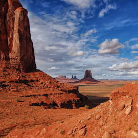Monumental vista by Cathleen Steele - Landscapes Deserts ( red, horizon, panorama, rocks, clouds, infinite view, desert, geology )