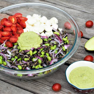 Wild Rice Edamame Salad with Avocado Basil Dressing.