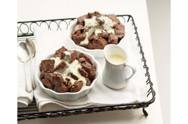 Chocolate-Walnut Bread Pudding Recipe