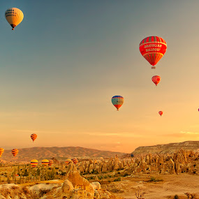 Floating over Cappadocia by Rafael Uy - Landscapes Travel ( hot air balloon, goreme, floating, turkey, balloon, cappadocia, air, transport )