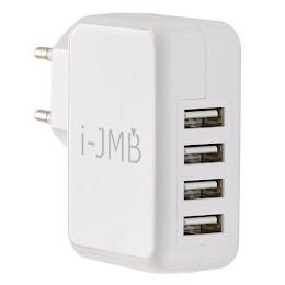 Incarcator USB alb 4 porturi i-JMB, adaptor priza