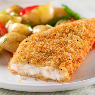Parmesan Crusted Cod with Warm Potato Salad