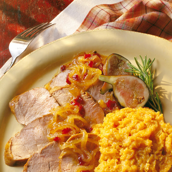 Spirited Pork Tenderloin with Fig and Chipolte Onions Recipe