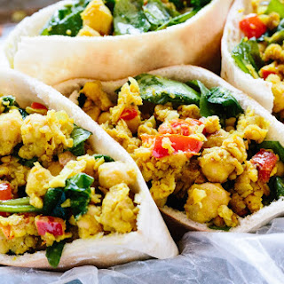 Scrambled Chickpea and Spinach Pitas.