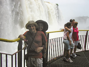 Photo: Posing below falls