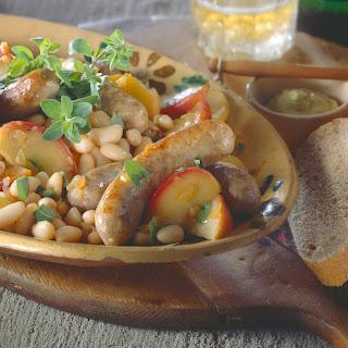 Apfel-Bohnen-Gemüse mit Bratwurst