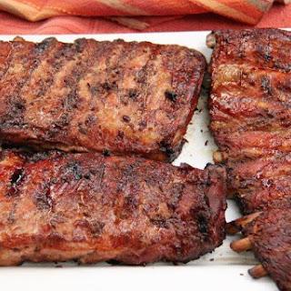North Carolina Ribs with Vinegar Based BBQ Sauce.