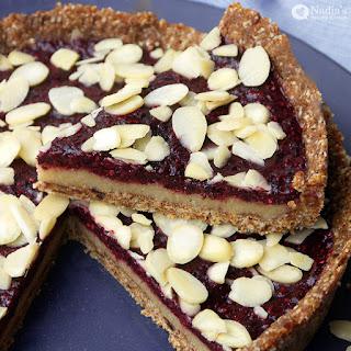 No-bake Cherry Bakewell Tart.