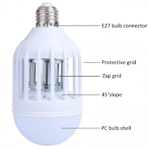 Bec LED antiinsecte cu lampa UV 9W,  Zapp Light