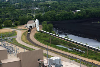 Photo: West edge of the coal pile, which contains low-sulfur coal shipped by rail from Wyoming