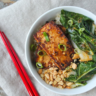 Spicy Peanut Tofu and Bok Choy Rice Bowl