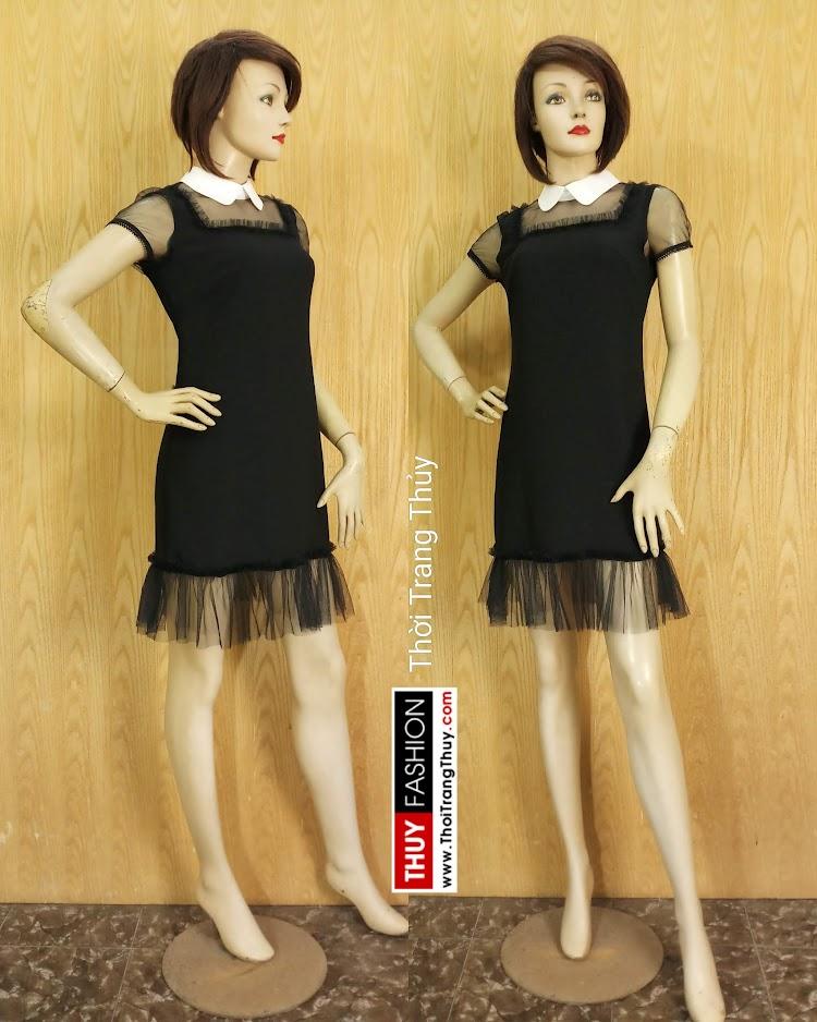 Váy suông cổ cánh sen phối ren màu đen V681 thời trang thủy hải phòng