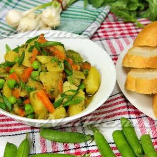 Potato, Green Pea, Carrot, and Vegetable Marrow Stew.