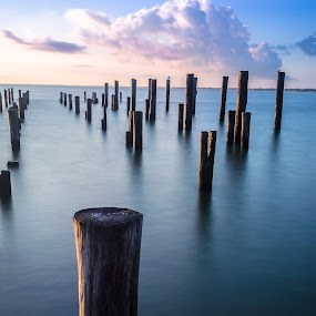 Standing Tall by Joshua Meyer - Landscapes Waterscapes ( waterscape, posts, pier, long exposure, pillars )