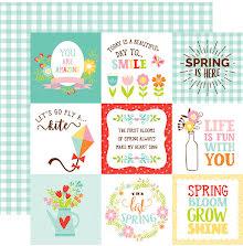Echo Park Spring Fling Cardstock 12X12 - 4X4 Journaling Cards UTGÅENDE