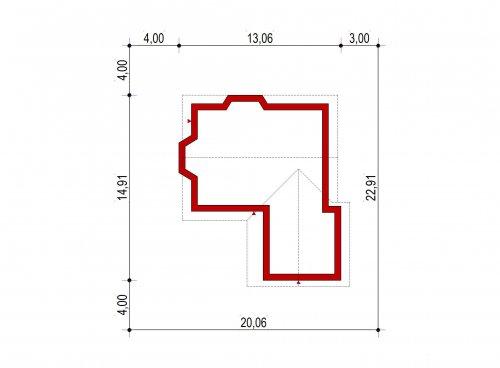 Domek Dębowy szkielet drewniany 027 ES+G - Sytuacja