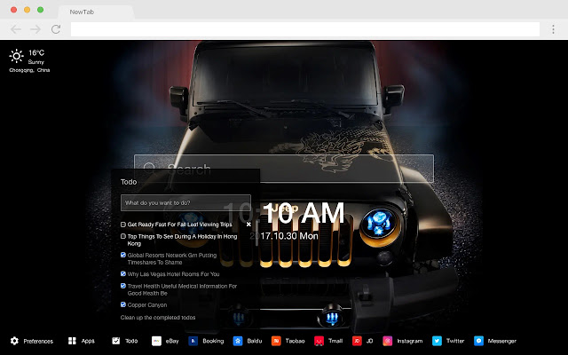 JEEP New Tab Page HD Popular Cars Theme