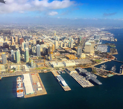 The San Diego skyline as seen from a San Diego Seaplanes floatplane.